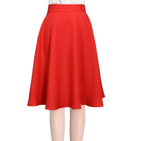 Unique Bargains Knee Length Natural Waist Stylish Full Skirt for Ladies