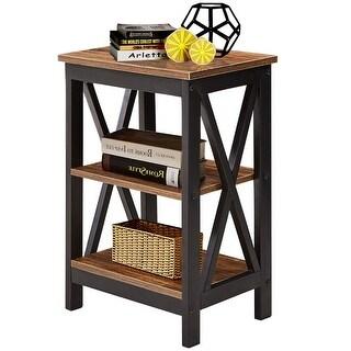 VECELO End Bedside Table Nightstand Storage Room Decor W/2 Shelf