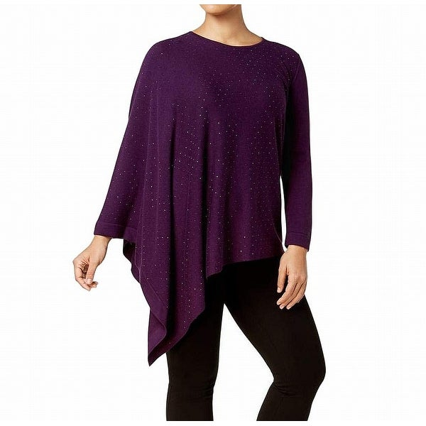 Anne Klein Purple Womens Size 1X Plus Embellished Pullover Sweater