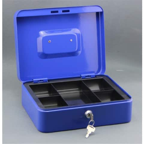 Cash Box with Money Tray Lock Key Steel for Cashier Drawer Money Safe Security - Blue - L