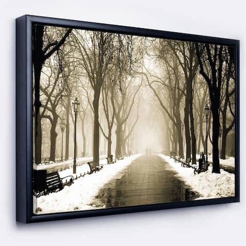 Designart 'Fog in Alley Vintage Style' Landscape Photography Framed Canvas Print