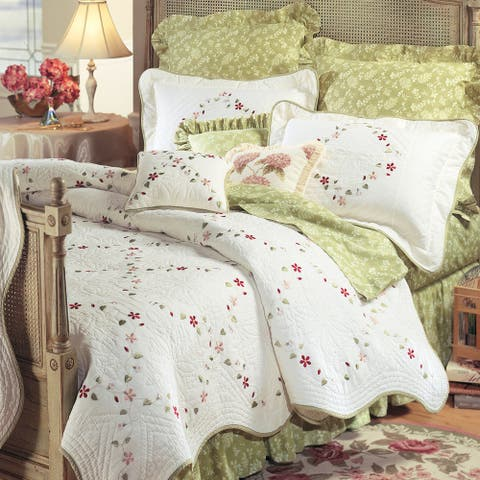 Felicity Cotton Embroidered Floral Quilt or Sham