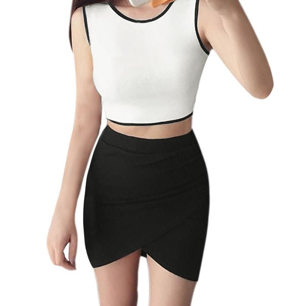 604a3b397aad24 Shop Women Piped Cropped Tank Top w Asymmetric Hem Skirt Sets - Black,White  - XS - On Sale - Free Shipping On Orders Over $45 - Overstock - 23577580