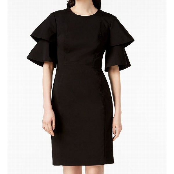 0a1e4bd3 Shop Calvin Klein Womens Tiered Sleeve Seamed Sheath Dress - Free Shipping  Today - Overstock - 27066599