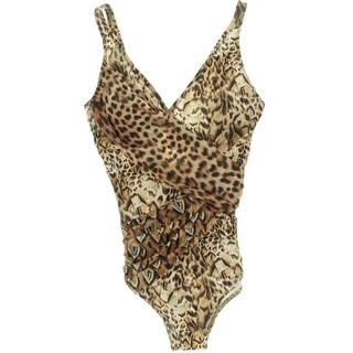 Gottex Womens Animal Print Criss-Cross Front One-Piece Swimsuit - 10