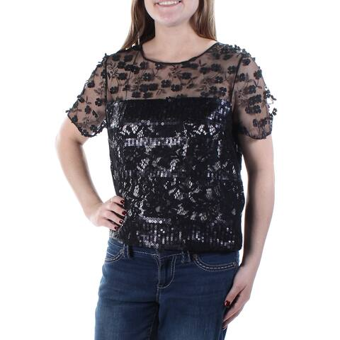 TAHARI Womens Black Floral Short Sleeve Party Top Size M