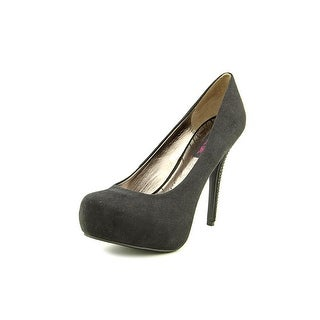 Material Girl Krisp Women Open Toe Canvas Black Platform Heel