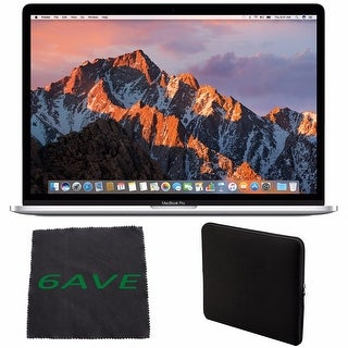 Apple MacBook Pro MLW82LL/A 15.4-inch Laptop with Touch Bar (Intel Core i7, 512GB Retina Display), Silver + Padded Case Bundle