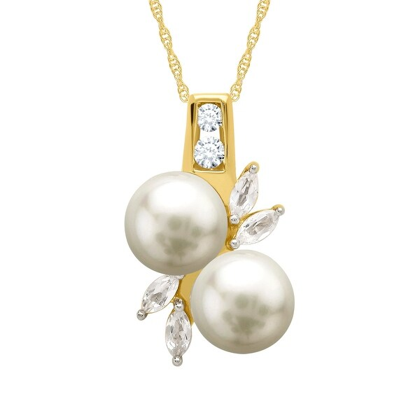 7 mm Freshwater Pearl and 5/8 ct Created White Sapphire Bud Pendant in 10K Gold