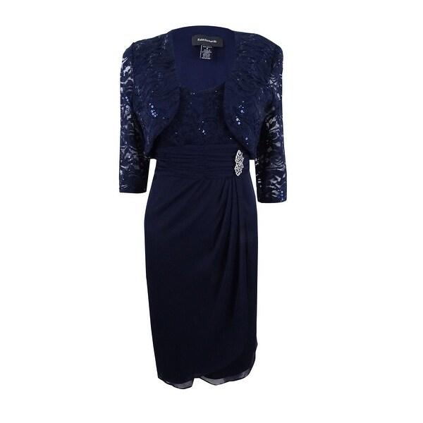 af1ba9c1f89 Shop R M Richards Women s Sequined Lace Faux-Wrap Dress and Bolero ...