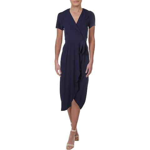 Yumi Kim Womens Cocktail Dress Wrap Ruffled - Navy