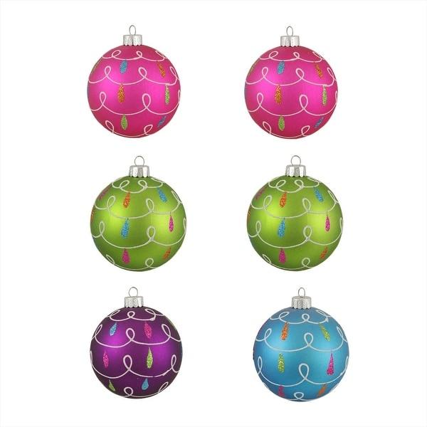 "6ct Colorful Matte Swirl Loop Shatterproof Christmas Ball Ornaments 3.25"" (80mm)"