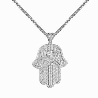 Iced Out Solitaire Hamsa Hand Pendant Lab Diamond Stainless Steel Chain