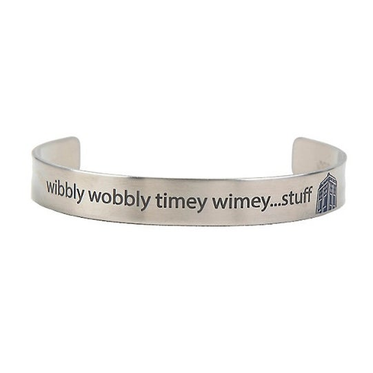 Doctor Who Wibbly Wobbly Timey Wimey Stuff Open Bangle Bracelet - multi