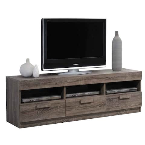 AOOLIVE Wooden TV Stand with 3 Drawers in Rustic Oak