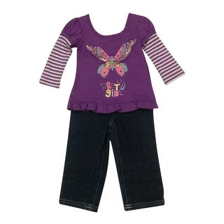 American Character Baby Girls Purple Butterfly Denim Pants Outfit