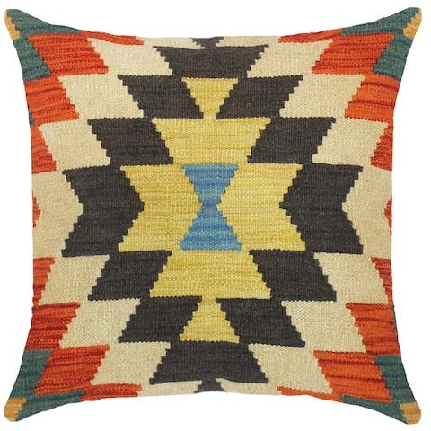 Shabby Chic Pura Hand-Woven Turkish Kilim Throw Pillow 18 in. x 18 in.
