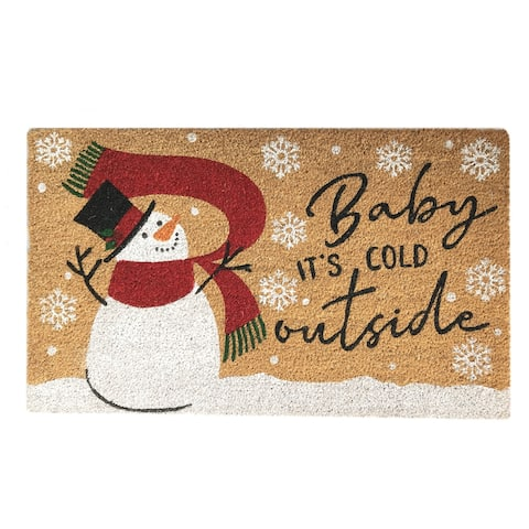 Farmhouse Living Snowman Baby It's Cold Outside Winter Coir Doormat