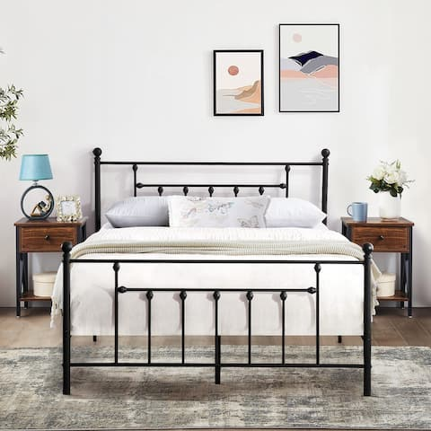 Taomika 3 Pieces Metal Platform Bed and Modern Nightstands Bedroom Sets