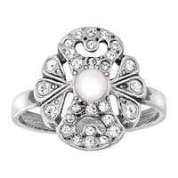 Van Kempen Art Nouveau Pearl Ring with Swarovski Elements crystals in Sterling Silver