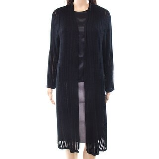 INC NEW Black Women's Size XL Illusion Stripe Long Open-Front Cardigan