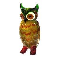 "7.75"" Elf Owl Multicolored Handcrafted Art Glass Figurine - Yellow"