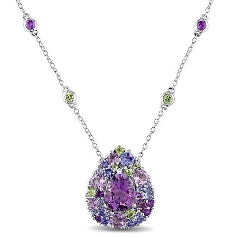 Miadora Sterling Silver Tanzanite, Rose de France, Peridot and Amethyst Teardrop Halo Station Necklace
