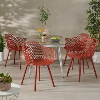 Link to Poppy Outdoor Modern Dining Chair (Set of 4) by Christopher Knight Home Similar Items in Patio Dining Chairs