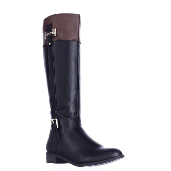 KS35 Deliee Flat Knee-High Boots, Black/Cognac