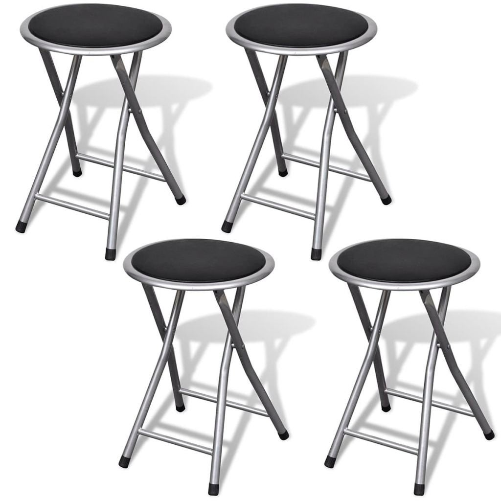 Cool Vidaxl Set Of 4 Round Folding Kitchen Breakfast Bar Stools Chairs Pub Seats Unemploymentrelief Wooden Chair Designs For Living Room Unemploymentrelieforg