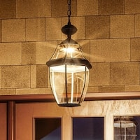 "Luxury Colonial Outdoor LED Pendant Light, 19""H x 11""W, with Tudor Style, Black Silk Finish"
