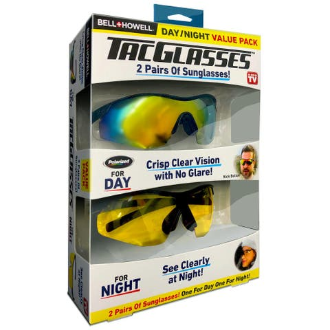 Bell and Howell 2PK Tacglasses Polarized Sunglasses For Night and Day