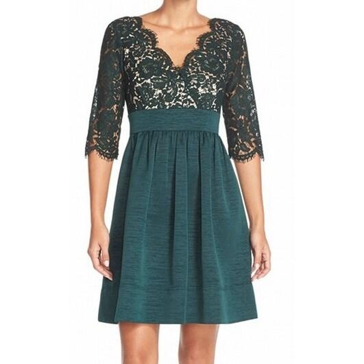 5548666d Shop Eliza J NEW Green Womens Size 2 Lace-Overlay Pleated Sheath ...