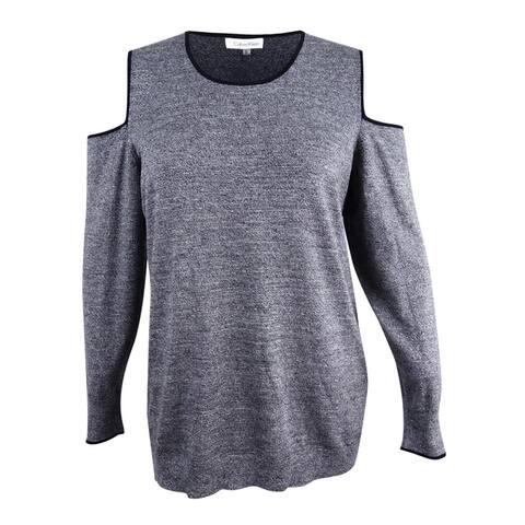 Calvin Klein Women's Contrast-Trim Cold-Shoulder Sweater (XL, Grey)