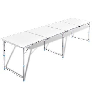 "vidaXL Foldable Camping Table Height Adjustable Aluminum 94.5""x23.6"""
