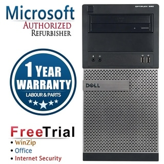 Refurbished Dell OPTIPLEX 390 Tower Intel Core i5 2400 3.1G 8G DDR3 240G SSD+2TB DVD Windows 10 Pro 1 Year Warranty - Black
