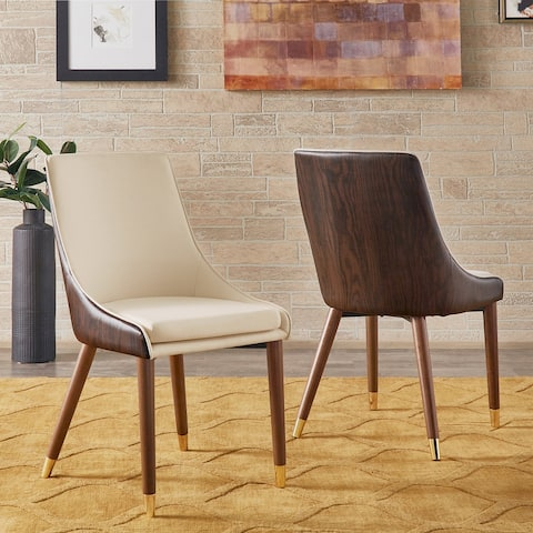 Leo Two-Tone Beige Dining Chairs (Set of 2) by iNSPIRE Q Modern