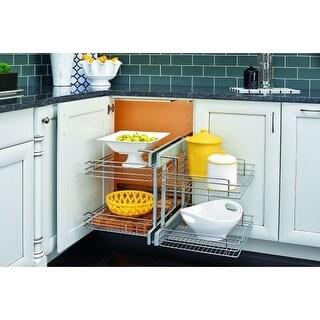 Rev-A-Shelf 5PSP-18 5PSP Series 18 Inch Base Cabinet Blind Corner Two-Tier Pull Out Shelves