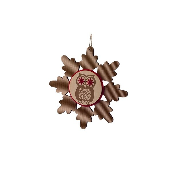 """7"""" Country Cabin Rustic Embroidered Craft Snowflake with Owl Stamp Christmas Ornament"""