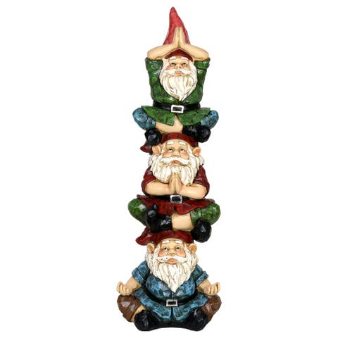 Exhart Solar Good Time Stacked Meditating Gnomes Garden Statue, 9 by 28 Inches