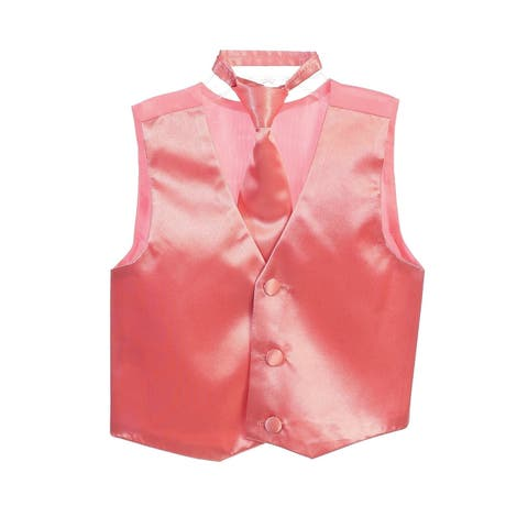 Little Boys Coral Three Button Satin Vest Tie 2 Pc Set