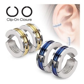 Center Inlay Color IP Pair of 316L Surgical Stainless Steel Non-Piercing Clip On Earrings