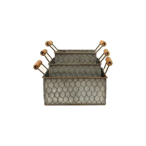 Western Moments Basket Set Galvanized Set of 3 Handles Silver - One Size