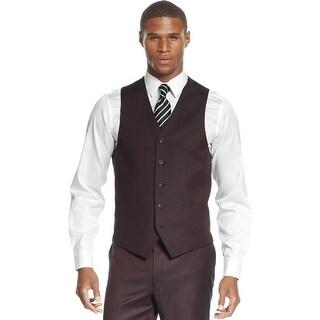 Sean John Mens Red Wine Sharkskin Button Front Vest Suit-Separates