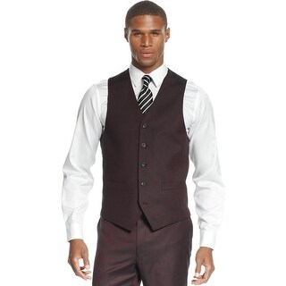 Sean John Mens Red Wine Sharkskin Button Front Vest Suit-Separates