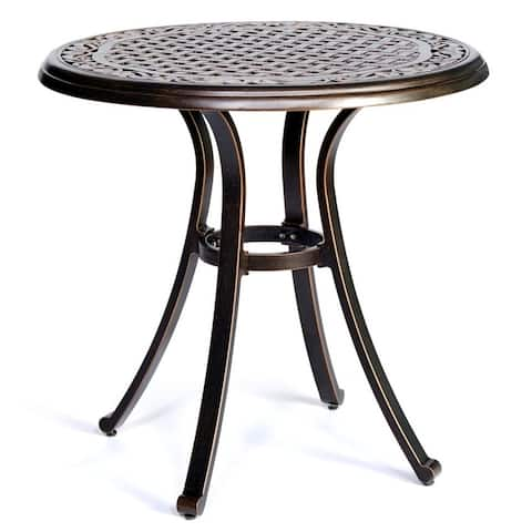 """Bistro Table, Square Cast Aluminum Round Outdoor Patio Dining Table 28"""" Dia x 28.6"""" Height"""