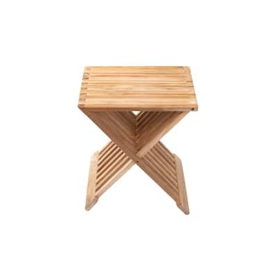 Nordic Style Natural Teak Folding Stool with Horizontal Slats - Beige