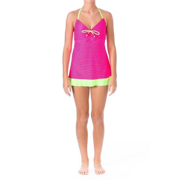 Backflips Womens Striped Halter Swimdress - 8