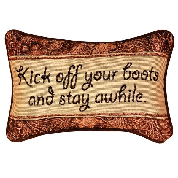 "Kick of Your Boots Bronze Floral Print Rectangular Throw Pillow 8.5"" x 12.5"""