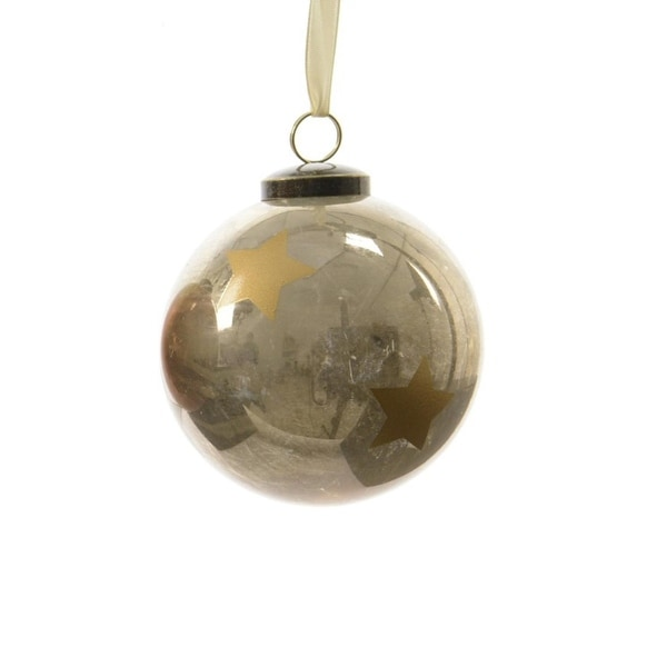 """3ct Luxury Lodge Shiny Light Gray with Gold Star Christmas Ball Ornaments 3.25"""" (80mm)"""